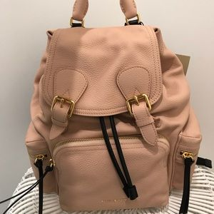 light pink leather Burberry backpack